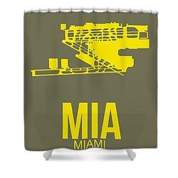 Mia Miami Airport Poster 1 Shower Curtain by Naxart Studio