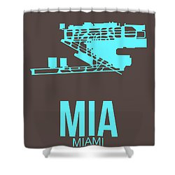 Mia Miami Airport Poster 2 Shower Curtain by Naxart Studio
