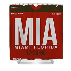 Mia Miami Airport Poster 4 Shower Curtain by Naxart Studio