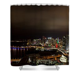 Miami After Dark Shower Curtain by Rene Triay Photography