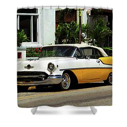 Miami Beach Classic Car With Watercolor Effect Shower Curtain by Frank Romeo