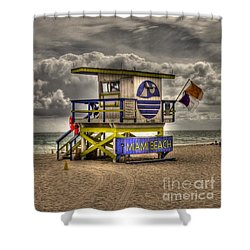Miami Beach Lifeguard Stand Shower Curtain by Timothy Lowry