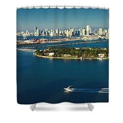 Miami City Biscayne Bay Skyline Shower Curtain