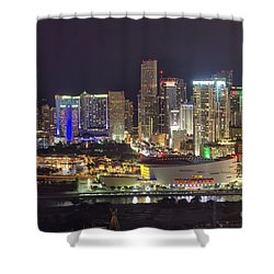 Miami Downtown Skyline American Airlines Arena Shower Curtain