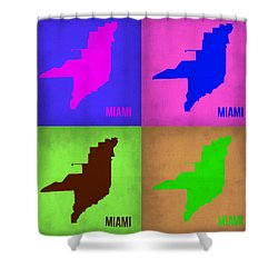 Miami Pop Art Map 1 Shower Curtain by Naxart Studio
