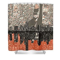 Miami Skyline Abstract 2 Shower Curtain