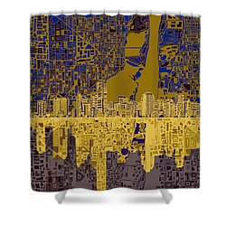 Miami Skyline Abstract 3 Shower Curtain