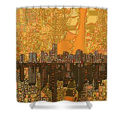 Miami Skyline Abstract 5 Shower Curtain