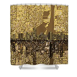 Miami Skyline Abstract 6 Shower Curtain