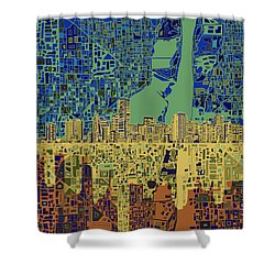 Miami Skyline Abstract 7 Shower Curtain