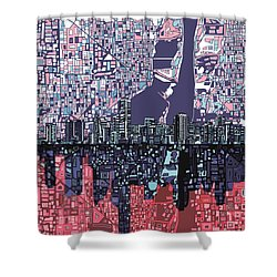 Miami Skyline Abstract Shower Curtain