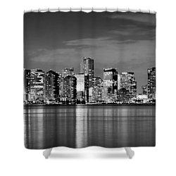 Miami Skyline At Dusk Black And White Bw Panorama Shower Curtain