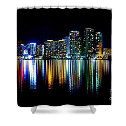 Miami Skyline High Res Shower Curtain by Rene Triay Photography