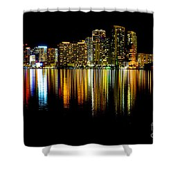 Miami Skyline II High Res Shower Curtain by Rene Triay Photography