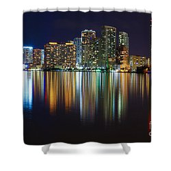Miami Skyline IIi High Res Shower Curtain by Rene Triay Photography