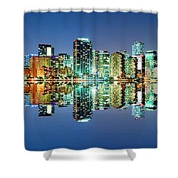 Miami Skyline Panorama Shower Curtain by Carsten Reisinger