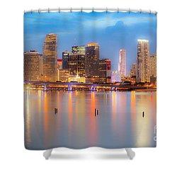 Miami Skyline On A Still Night- Soft Focus  Shower Curtain