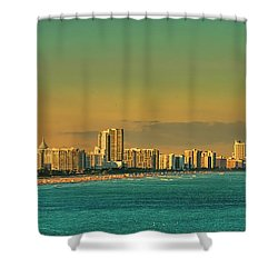 Miami Sunset Shower Curtain by Olga Hamilton