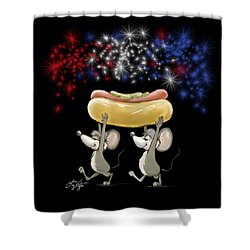 Mic And Mac's 4th Of July Night Picnic Shower Curtain