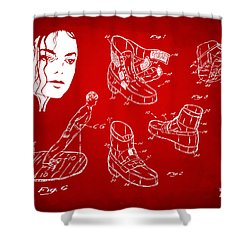 Michael Jackson Anti-gravity Shoe Patent Artwork Red Shower Curtain by Nikki Marie Smith