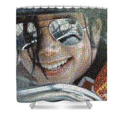 Michael Jackson - Mosaic Shower Curtain by Paulette B Wright