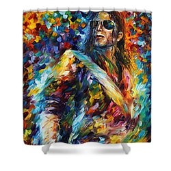 Michael Jackson - Palette Knife Oil Painting On Canvas By Leonid Afremov Shower Curtain by Leonid Afremov