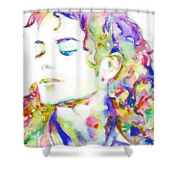 Michael Jackson - Watercolor Portrait.6 Shower Curtain by Fabrizio Cassetta