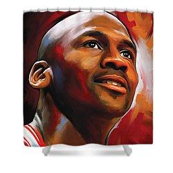 Michael Jordan Artwork 2 Shower Curtain by Sheraz A