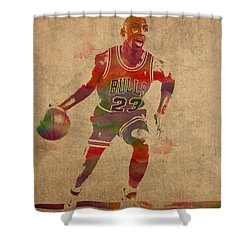 Michael Jordan Chicago Bulls Vintage Basketball Player Watercolor Portrait On Worn Distressed Canvas Shower Curtain by Design Turnpike