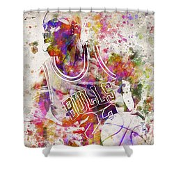 Michael Jordan In Color Shower Curtain by Aged Pixel