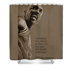Michael Jordan - Practice Shower Curtain by Richard Tito