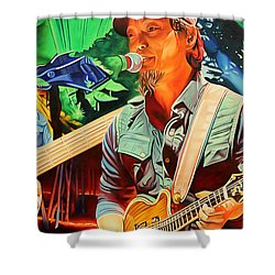 Shower Curtain featuring the painting Michael Kang At Horning's Hideout by Joshua Morton