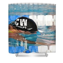 Michael Phelps  Shower Curtain by Duncan Selby