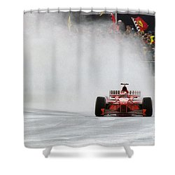 Michael Schumacher Rainmaster Shower Curtain by Gary Doak