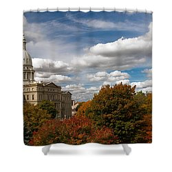 Shower Curtain featuring the photograph Michgan Capitol - Autumn by Larry Carr