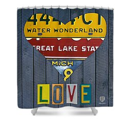 Michigan Love Heart License Plate Art Series On Wood Boards Shower Curtain