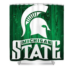 Michigan State Barn Door Shower Curtain by Dan Sproul