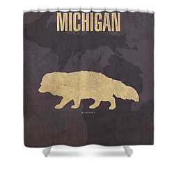 Michigan State Facts Minimalist Movie Poster Art  Shower Curtain by Design Turnpike