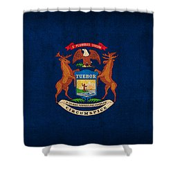 Michigan State Flag Art On Worn Canvas Shower Curtain by Design Turnpike