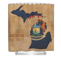 Michigan State Flag Map Outline With Founding Date On Worn Parchment Background Shower Curtain by Design Turnpike