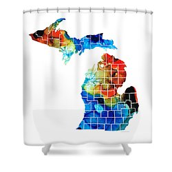 Michigan State Map - Counties By Sharon Cummings Shower Curtain by Sharon Cummings