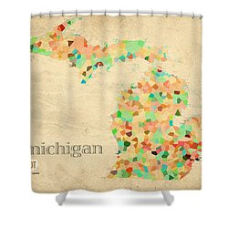Michigan State Map Crystalized Counties On Worn Canvas By Design Turnpike Shower Curtain by Design Turnpike