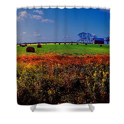 Michigan Uper  Farm Barn And Rolls Of Hay Brimly Michigan Shower Curtain