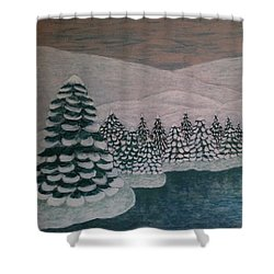 Shower Curtain featuring the painting Michigan Winter by Jasna Gopic