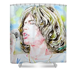 Mick Jagger Singing Watercolor Portrait Shower Curtain by Fabrizio Cassetta