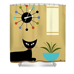 Mid Century Ball Clock 2 Shower Curtain