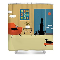 Mid Century Dogs And Cats Shower Curtain