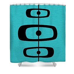 Mid Century Shapes 2 On Turquoise Shower Curtain