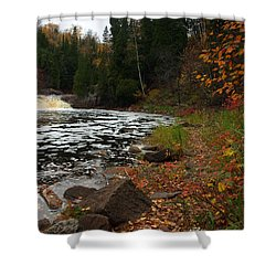 Middle Falls Tettegouche Shower Curtain by James Peterson