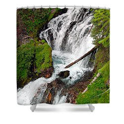 Middle Of Red Blanket Falls Shower Curtain by Teri Schuster